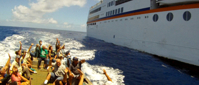 Pitcairn Island, Big Flower - Pulling out from the cruise ship